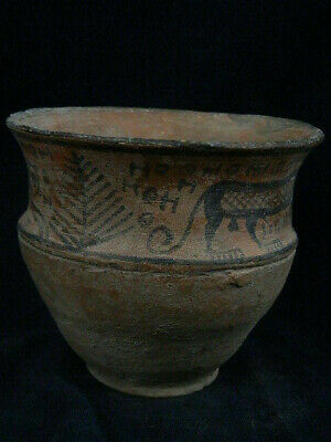 Ancient Large Size Teracotta Painted Pot With Lions Indus Valley 2500 BC #PT219 3