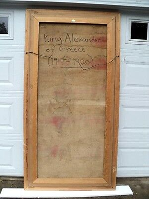 """King Alexander of Greece 1917 1920 Huge Oil Painting 81""""  tall Signed by artist 7"""