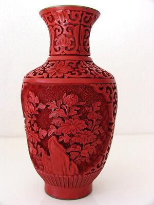 big 20th Pair of Vases - Mirror inverted Original Chinese Cinnabar Lacquer RARE 3