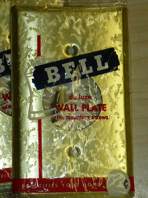 NOS! LOT of (9) BELL 1-GANG SINGLE RECEPTACLE, ANTIQUE BRASS