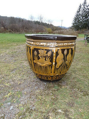 Large Terracotta Glazed  Planter With Floral   Decorations 8