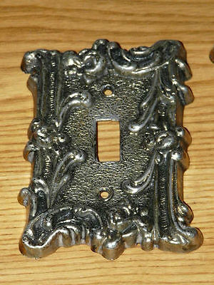 2 Vintage Thick and heavy Cast Metal Switch Covers 2