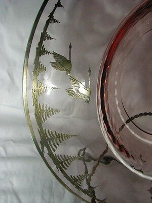BEST Antique Deco Signed Rockwell Silver Overlay Geese Vintage Optic Glass Dish 5