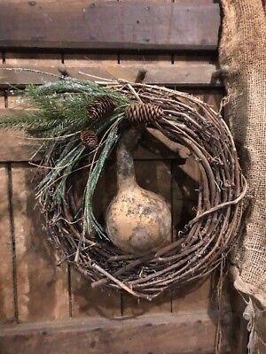 Primitive Christmas Gourd Lantern Early Look Peg Hanger Door Keep Homestead #F 11