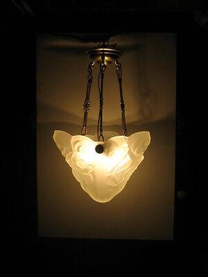 antique (PARIS STAR) ART DECO chandelier Ceiling Light Fixture FROSTED Glass 4