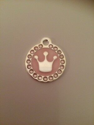 Pink Princess / Prince Crown Engraved Pet Tag / Disc with Diamantes  - Cat /Dog 7