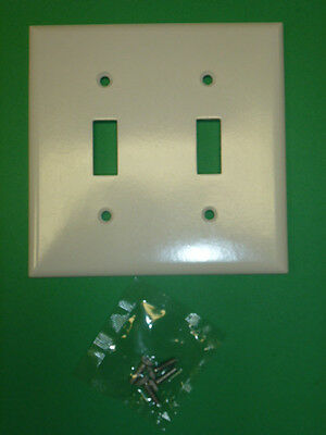 NOS! LOT of (2) EAGLE WHITE DOUBLE SWITCH PLATES 2