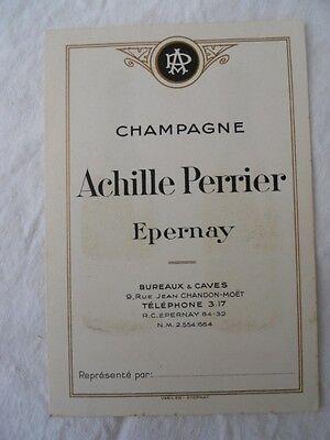 1 Sur 2Livraison Gratuite 5 Ancienne Carte De Visite Reprsentant Champagne Achille Perrier Epernay