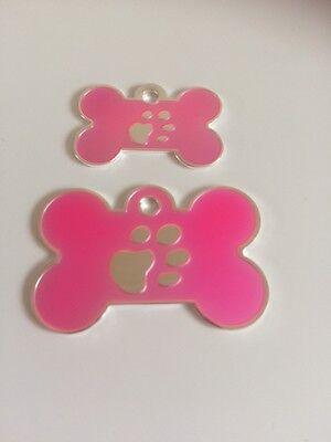 Elegance Paw Print Engraved Cat/Dog/Pet ID NAME tags BONE/DISC Variations.... 3