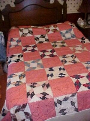 Vintage 1920/30s  QUILT, LOTSA PATTERNED RED &  BLACK EMBROIDERY 3