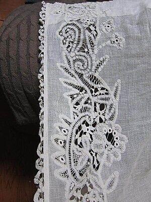Antique Ecru Battenburg Tenerife Lace Long Single Curtain~Bottom Damage
