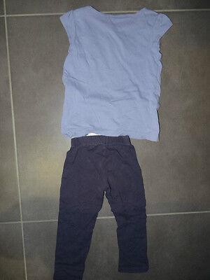 Ensemble T-shirt mauve imprimé Kidkanaï + legging uni violet TAO Taille 3 ans 5