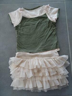 Ensemble jupe rose TAPE A L'OEIL + t-shirt kaki et rose imprimé Taille 3 ans 8
