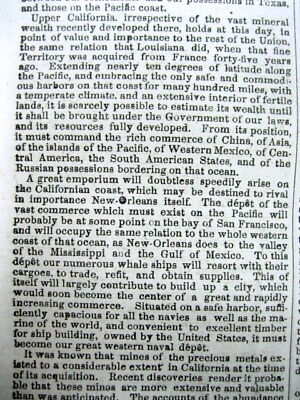 1848 newspaper Confirmation of CALIFORNIA GOLD DISCOVERY by PRESIDENT JAMES POLK 4