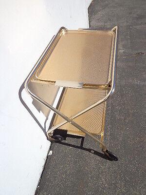 Mid Century Bar Cart Woodmet Folding Gold Copper Brass Vintage MCM Tea Serving 6