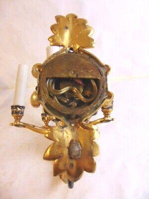 Pr Antique French Rococo Brass Cherub Wall Sconces 7
