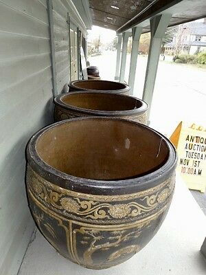 Monumental  Large Terracotta Glazed Pottery Urns Planters 4