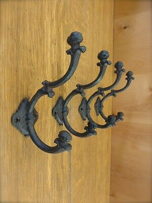 "4 BROWN FANCY ACORN 7"" WALL HOOKS ANTIQUE-STYLE CAST IRON rustic ornate coat hat"