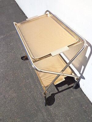 Mid Century Bar Cart Woodmet Folding Gold Copper Brass Vintage MCM Tea Serving 5