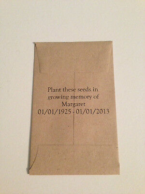 10 x FORGET ME NOT Seed Funeral Favours - Personalised Memorial Rememberance UK 2