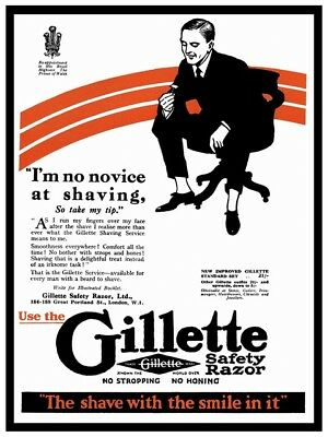 Wall art. Reproduction poster Gillette safety razor old Magazine advert