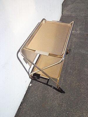 Mid Century Bar Cart Woodmet Folding Gold Copper Brass Vintage MCM Tea Serving 4