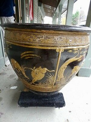 Large Terracotta Glazed  Planter WITH  WILDLIFE  SCENES 3