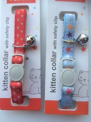 kitten Safety Collar with Bell - Stars Design (different colours available) 2