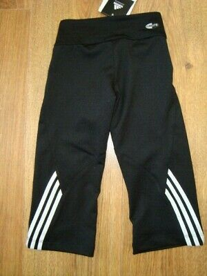 New Adidas Girls Gym Workout 3/4 Length Black Leggins Age 4 Yrs 108 Bnwt 4