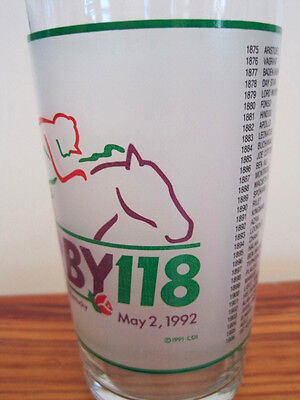 1992 Official Kentucky Derby Mint Julep Frosted Glasses-2 Churchill Downs #118