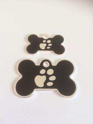 Elegance Paw Print Engraved Cat/Dog/Pet ID NAME tags BONE/DISC Variations....