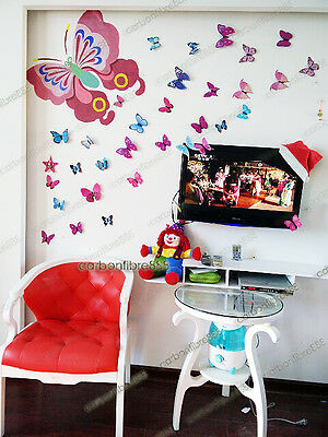 4 of 8 3D Butterfly Wall Art Decal Stickers Magnet Mural Home Decoration 12pcs 48pcs & 3D BUTTERFLY WALL Art Decal Stickers Magnet Mural Home Decoration ...