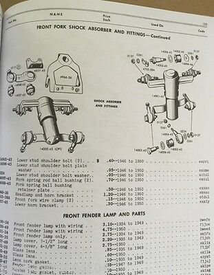 HARLEY PARTS MANUAL Catalog Book 1940 to 1950 45 Solo Servicar Springer