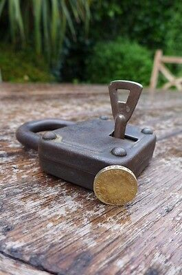 Antique / Vintage Padlock with one working key. Love bridge padlock. 6