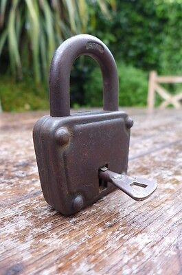 Antique / Vintage Padlock with one working key. Love bridge padlock. 4