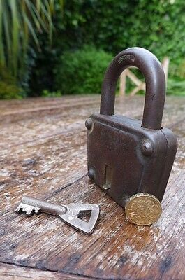 Antique / Vintage Padlock with one working key. Love bridge padlock. 7