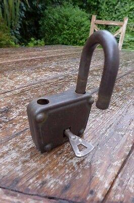Antique / Vintage Padlock with one working key. Love bridge padlock. 3