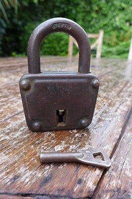 Antique / Vintage Padlock with one working key. Love bridge padlock. 2