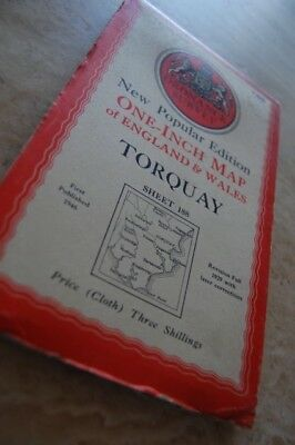 Vintage 1946 'Torquay Ordnance Survey One Inch Map/Poster on Cloth 2