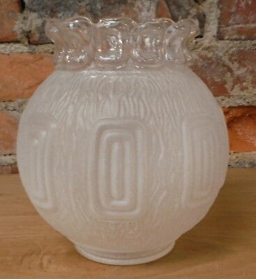Vintage Art Deco Frosted Glass Light Globe Raised Relief Shade Textured Clear 2