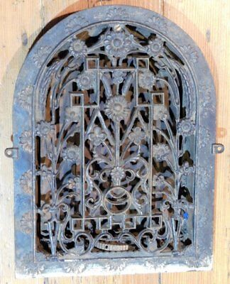 Antique Cast Iron Floral Grate - Vent AWESOME - Tombstone 2