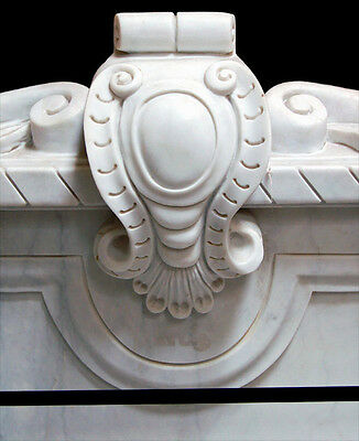 White Marble Throne Chair with Carved Sphinxes #5232 3