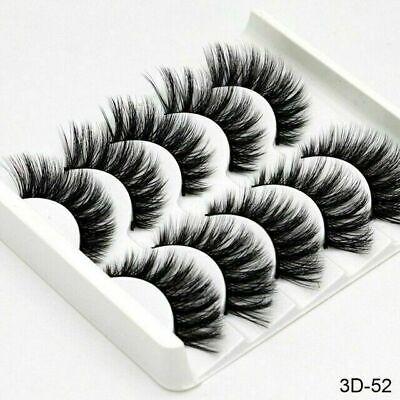 5 Pair 3D Mink False Eyelashes Wispy Cross Long Thick Soft Fake Eye Lashes UK 7