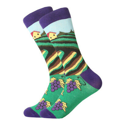 Mens Cotton Socks Novelty Animal Fruit Colorful Funny Casual Dress Wedding Socks 8