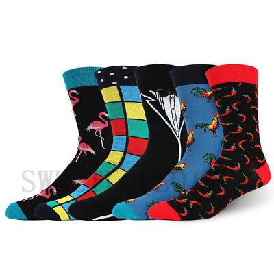 Mens Combed Cotton Socks Funny Animal Fruit Novelty Dress Sock For Wedding Gifts 4