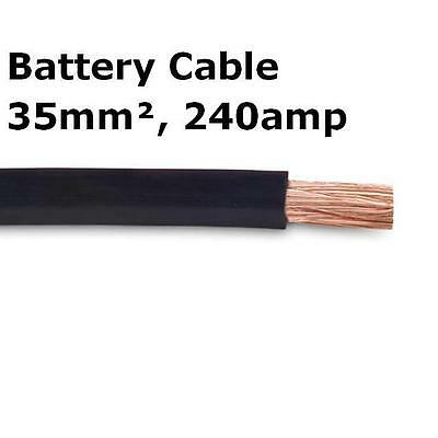 5m Black Battery Welding Cable 35mm² 240a Flexible Marine 0AWG 0 Gauge Earth OFC