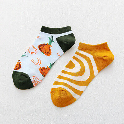 Mens Cotton Ankle Socks Novelty Animal Fruit Funny Asymmetric Unisex Dress Socks 9