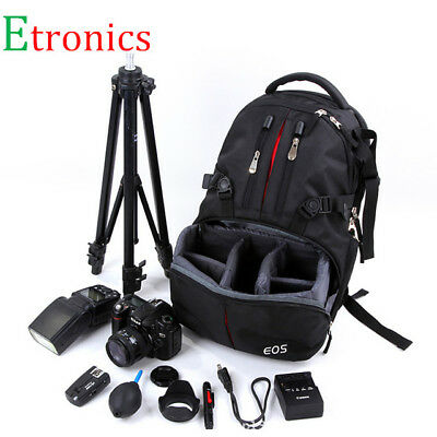 LARGE DSLR SLR Camera Backpack Rucksack Bag Case+RainCover For Nikon Sony Canon 12