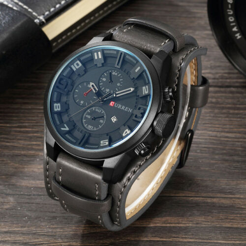 Curren Army Military Quartz Mens Watches Leather Boys Watch Casual Sport Watch 3