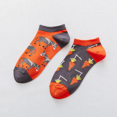 Mens Cotton Ankle Socks Novelty Animal Fruit Funny Asymmetric Unisex Dress Socks 8